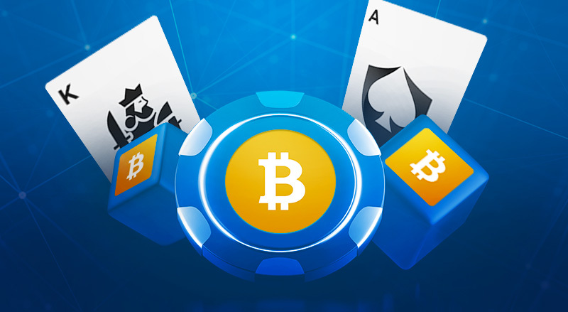 Vector of Bitcoin on poker chips and dice and some playing cards