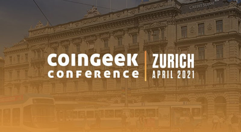 CoinGeek Live Zurich logo against a background of Zurich, Switzerland